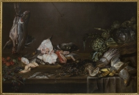 Still life with vegetables, death game, fish and fruit