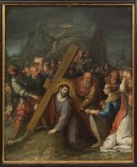 Saint Veronica presenting her veil to Jesus