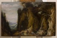 Voyagers in an Alpine landscape